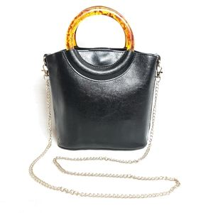 Vintage faux leather acrylic chain tote bag